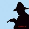 мужчина в шляпе, с пистолетом